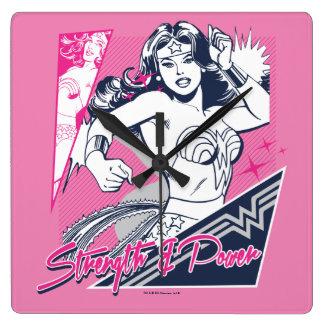 Wonder Woman Strength & Power Square Wall Clock