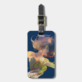 Wonder Woman Sunset Waterfall Silhouette Luggage Tag