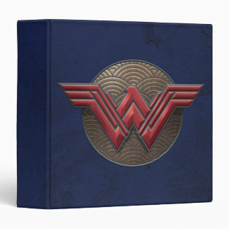 Wonder Woman Symbol Over Concentric Circles 3 Ring Binder