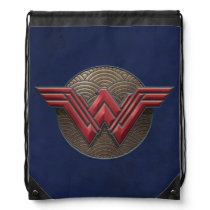 Wonder Woman Symbol Over Concentric Circles Drawstring Bag