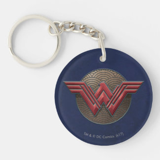 Wonder Woman Symbol Over Concentric Circles Keychain