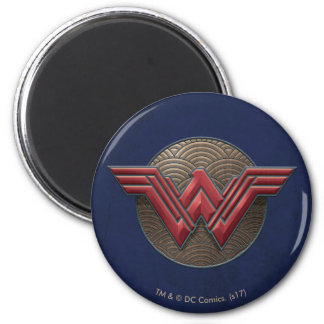 Wonder Woman Symbol Over Concentric Circles Magnet