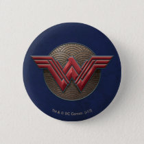 Wonder Woman Symbol Over Concentric Circles Pinback Button