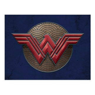 Wonder Woman Symbol Over Concentric Circles Postcard