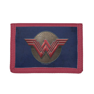 Wonder Woman Symbol Over Concentric Circles Trifold Wallets