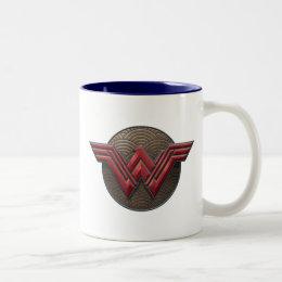 Wonder Woman Symbol Over Concentric Circles Two-Tone Coffee Mug