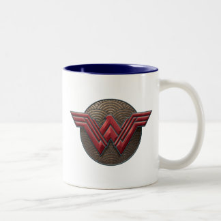 Wonder Woman Symbol Over Concentric Circles Two-Tone Coffee Mug