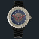 """Wonder Woman Symbol Over Concentric Circles Wristwatch<br><div class=""""desc"""">Check out this embossed Wonder Woman symbol in red,  laid atop a disk of golden concentric circles.</div>"""
