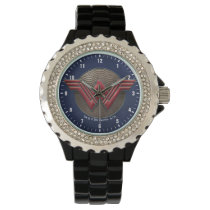 Wonder Woman Symbol Over Concentric Circles Wristwatch
