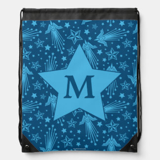 Wonder Woman Symbol Pattern | Monogram Drawstring Backpack