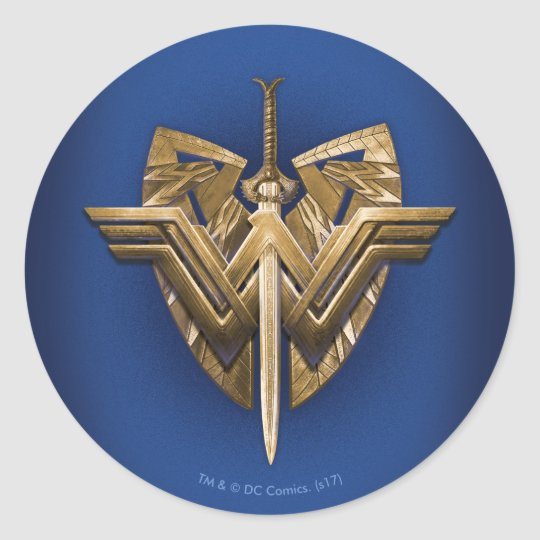 Wonder Woman Symbol With Sword Of Justice Classic Round Sticker