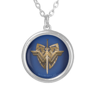 Wonder Woman Symbol With Sword of Justice Silver Plated Necklace
