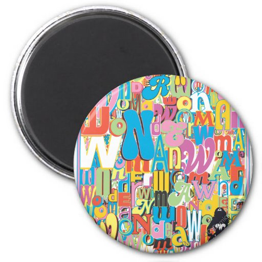 Wonder Woman Text Collage Fridge Magnets