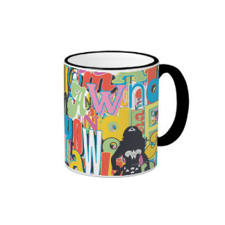 Wonder Woman Text Collage Ringer Mug