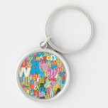 Wonder Woman Text Collage Silver-Colored Round Keychain