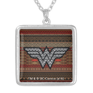 Wonder Woman Tribal Pattern Silver Plated Necklace