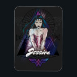 "Wonder Woman Tribal Triangle Magnet<br><div class=""desc"">Check out Wonder Woman with her sword at the ready in this triangle graphic with tribal accents and shards of light.</div>"