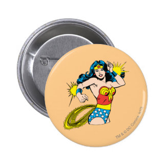 Wonder Woman Twist with Glowing Cuffs Pinback Button