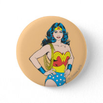 Wonder Woman | Vintage Pose with Lasso Pinback Button
