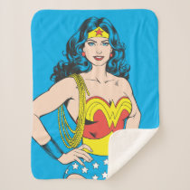 Wonder Woman   Vintage Pose with Lasso Sherpa Blanket