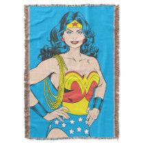 Wonder Woman   Vintage Pose with Lasso Throw Blanket