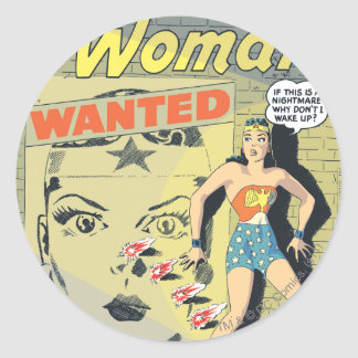 Wonder Woman Wanted Classic Round Sticker