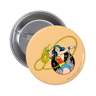 Wonder Woman with City Background Pinback Button