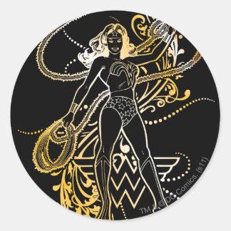 Wonder Woman Yellow Fade Classic Round Sticker
