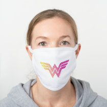 Wonder Woman Yellow-Pink Halftone Gradient Logo White Cotton Face Mask