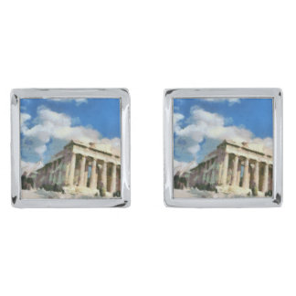Wonderful Acropolis in Athens Silver Cufflinks