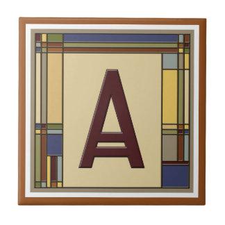Wonderful Arts & Crafts Geometric Initial A Ceramic Tile