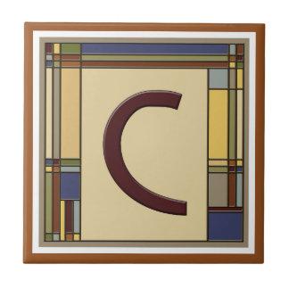 Wonderful Arts & Crafts Geometric Initial C Ceramic Tile