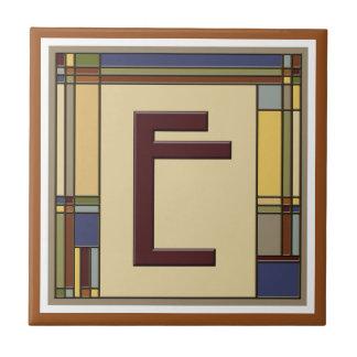 Wonderful Arts & Crafts Geometric Initial E Tile