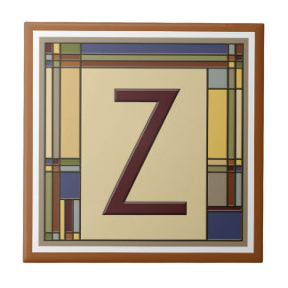 Wonderful Arts & Crafts Geometric Initial Z Ceramic Tile