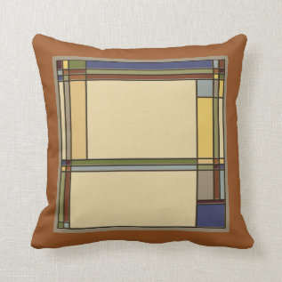 Wonderful Arts & Crafts Geometric Patterns In Fall Throw Pillow at Zazzle