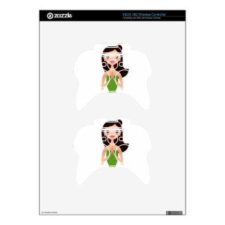 Wonderful asia meditation girl green black xbox 360 controller skins