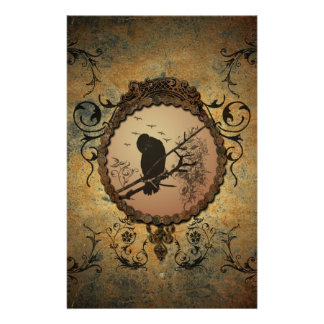 Wonderful bird in a circle made of rusty metal stationery