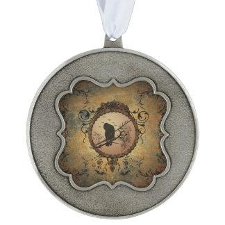 Wonderful bird in a circle pewter ornament