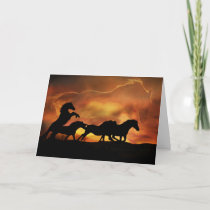 Wonderful Birthday Card With Horses