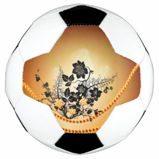 Wonderful black flowers soccer ball