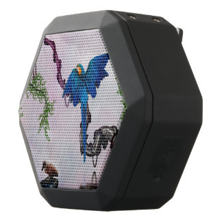 Wonderful blue parrot black bluetooth speaker
