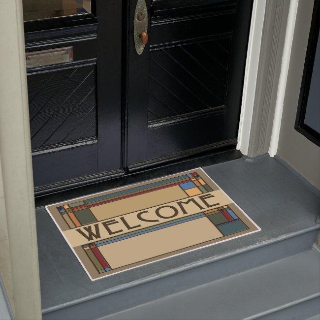 Wonderful Bold Fall Arts & Crafts Geometric Doormat