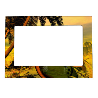 Wonderful butterflies ship in the sunset magnetic frame