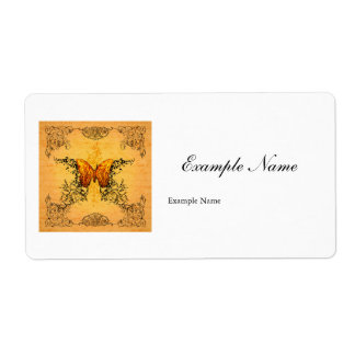 Wonderful butterflies with floral elements label