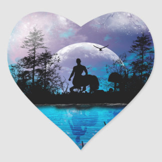 Wonderful centaur silhouette heart sticker