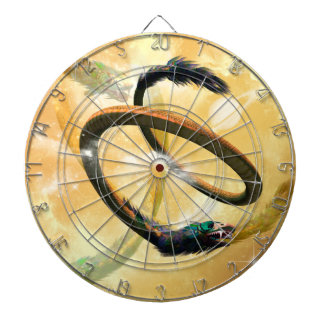 wonderful chinese dragon in the universe dartboard with darts