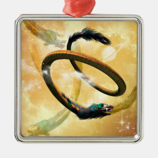 wonderful chinese dragon in the universe metal ornament
