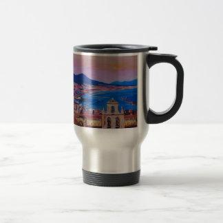 Wonderful City View of Naples with Mount Vesuv Travel Mug