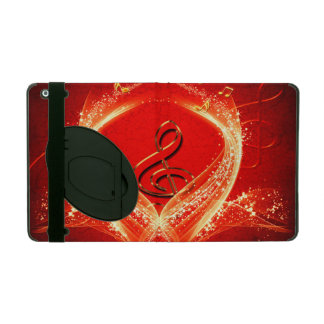 Wonderful clef and key notes on red background iPad covers