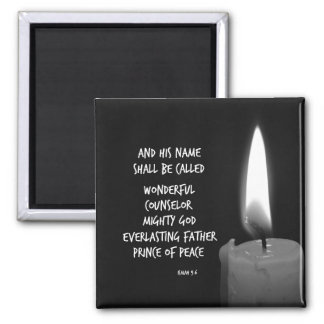 Wonderful Counselor Prince of Peace Scripture 2 Inch Square Magnet